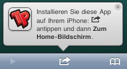 Die Terminal Poker App weist beim ersten Besuch darauf, dass sie auf dem Handy installiert werden kann