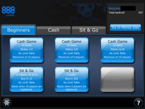 a screenshot of the 888Poker mobile HD App Lobby