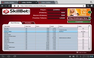 A screenshot of the skillbet poker lobby