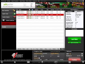 Ein Screenshot der mobile Lobby von WinPoker