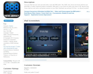888 poker app in itunes store - a screenshot of the first US poker app