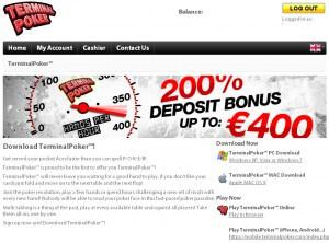 Terminal Poker - mobiler Pokerclient 200% Bonus und Rakeback