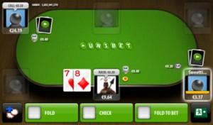 Ein Screenshot Poker App von Unibet