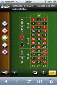Screenshot der Bwin European Roulette App