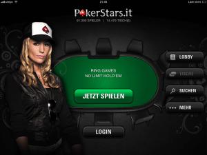 Startbildschirm der Poker Stars Mobile Poker App in deutsch