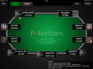 Die deutsche PokerStars-App in der Tischansicht