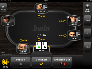 Screenshot der bwin iPad Poker App - HD Echtgeld Poker