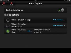 Winner Poker Apps Setting Screen