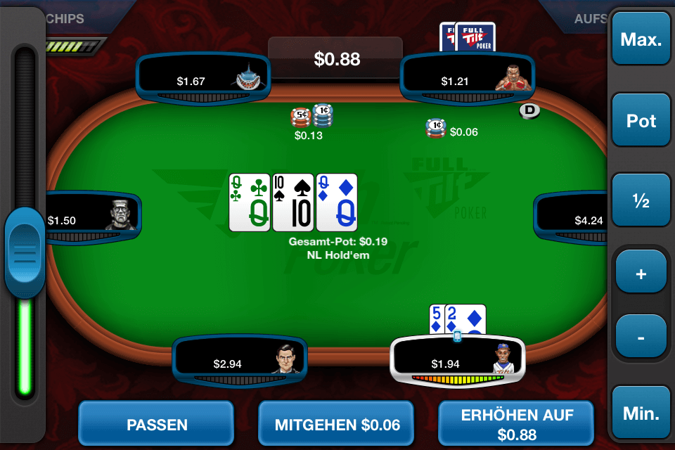 A Screenshot of the new Full Tilt Rush Poker App