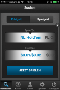 Screenshot of the new full tilt poker app for android and iOS