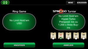 PokerStars Spin and Go Poker Lobby