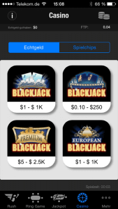Full Tilt mobile Casino Blackjack