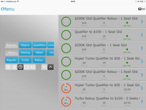 PartyPoker App tournaments
