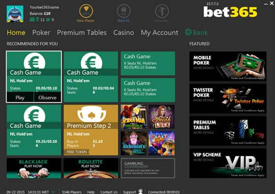 neue bet365 poker-software - screenshot der lobby 2015