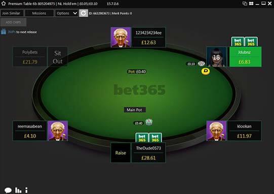neue bet365 poker-software - tischdesign