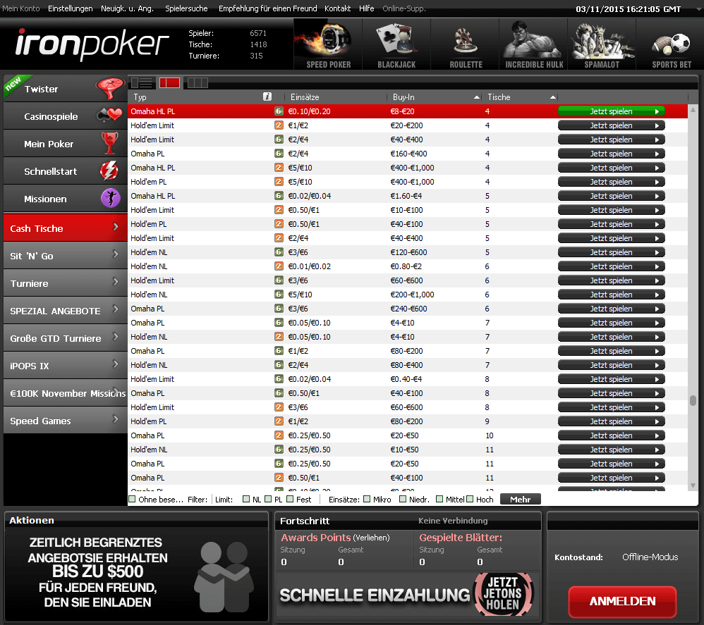 Iron Poker Desktop Lobby