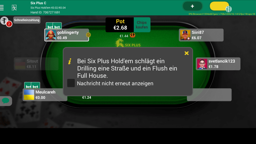 bet 365 six plus holdem