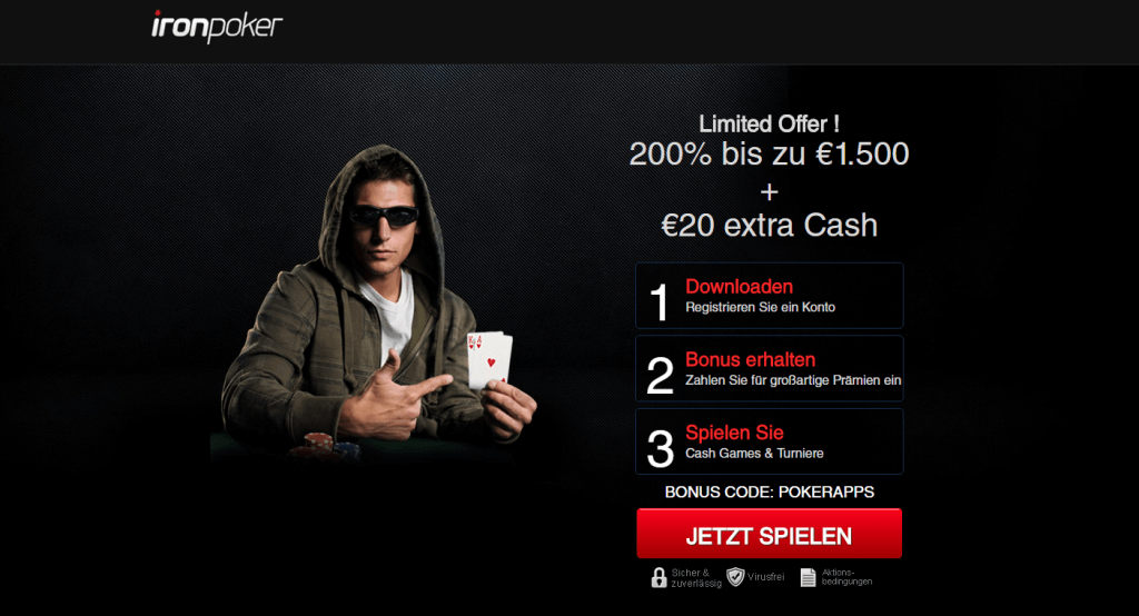 Iron Poker Bonus 20 Euro Sofortbonus
