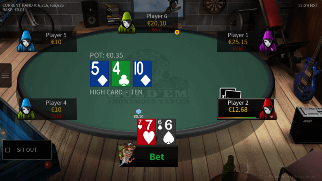 texas holdem anonymous table